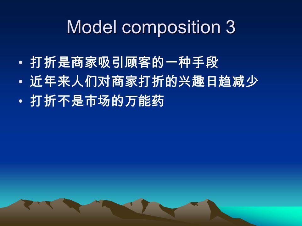 Model composition 3 打折是商家吸引顾客的一种手段 近年来人们对商家打折的兴趣日趋减少 打折不是市场的万能药