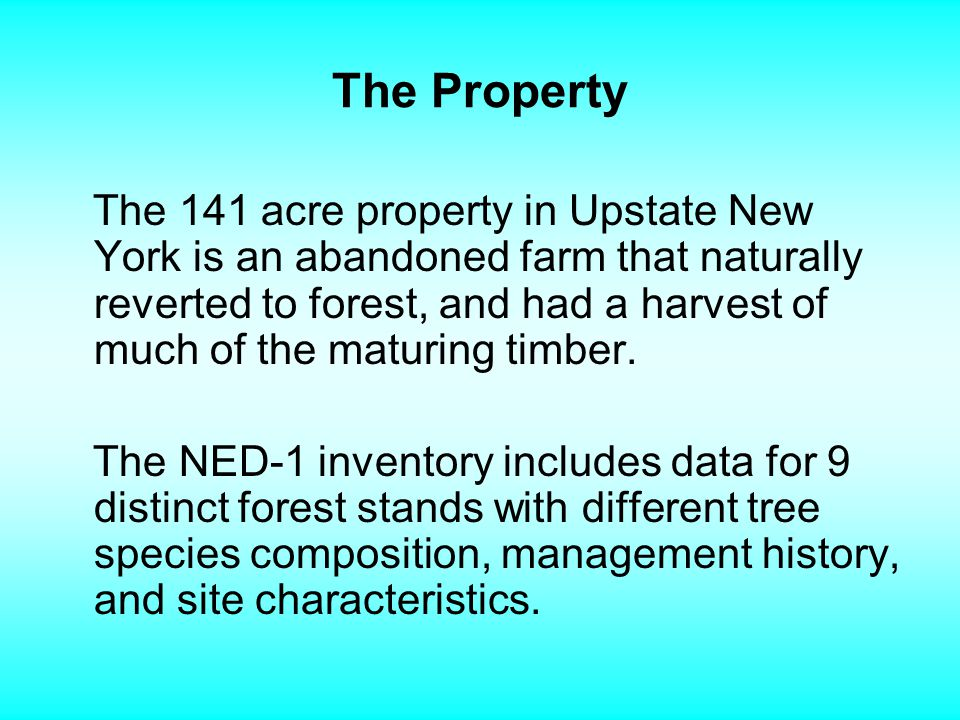 The Property The 141 acre property in Upstate New York is an abandoned farm that naturally reverted to forest, and had a harvest of much of the maturing timber.