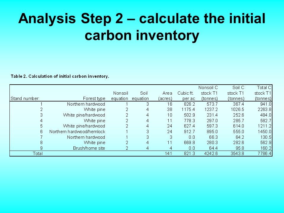 Analysis Step 2 – calculate the initial carbon inventory