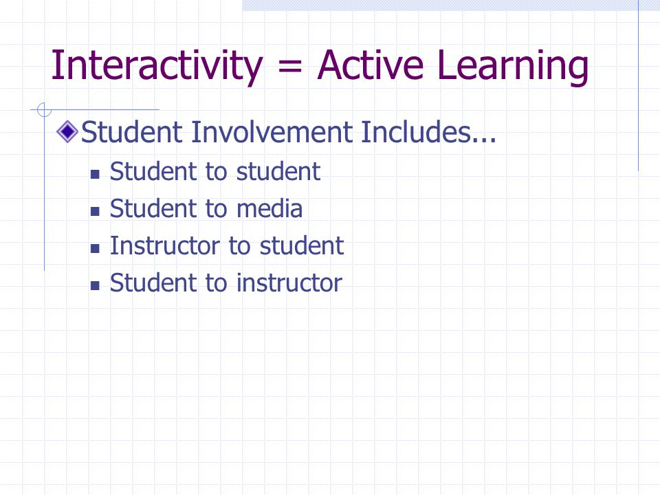 Interactivity = Active Learning Student Involvement Includes...