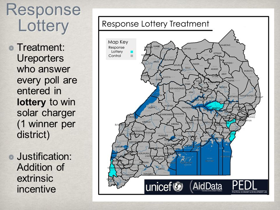 Response Lottery Treatment: Ureporters who answer every poll are entered in lottery to win solar charger (1 winner per district) Justification: Addition of extrinsic incentive