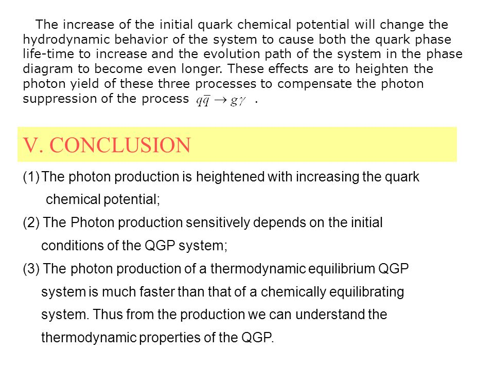V. CONCLUSION (1)The photon production is heightened with increasing the quark chemical potential; (2) The Photon production sensitively depends on th