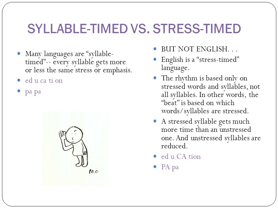 """SYLLABLE-TIMED VS. STRESS-TIMED Many languages are """"syllable- timed""""-- every syllable gets more or less the same stress or emphasis. ed u ca ti on pa"""