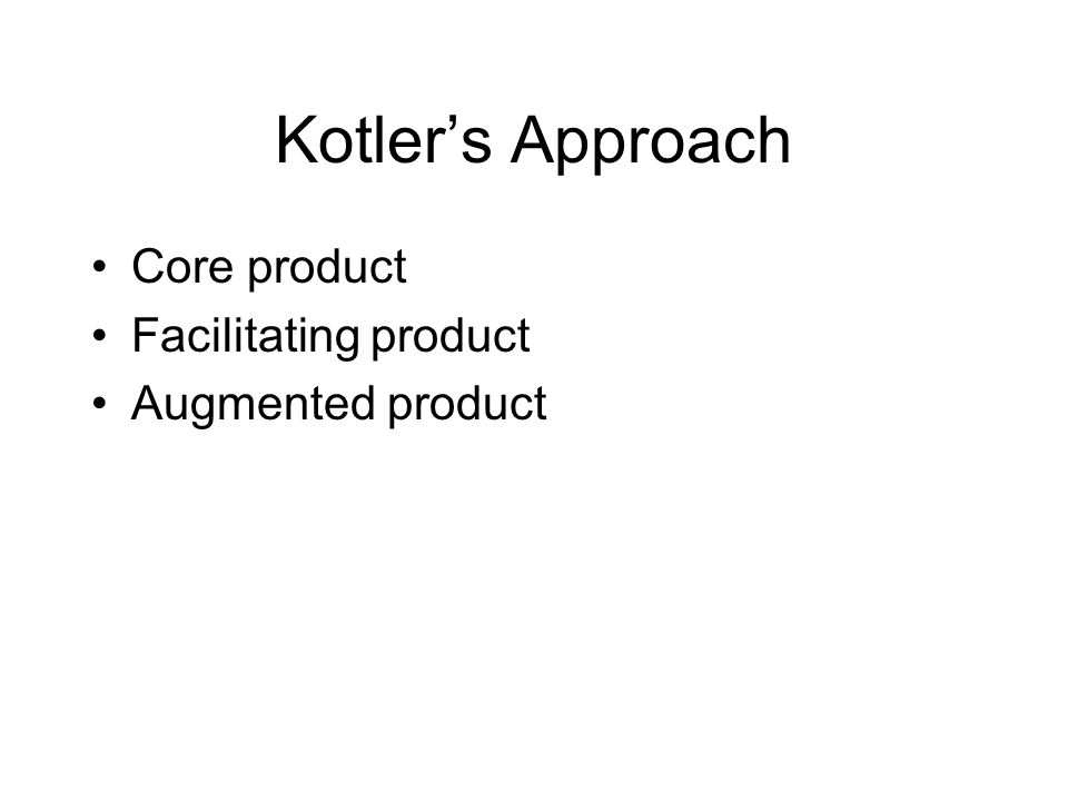 Kotler's Approach Core product Facilitating product Augmented product