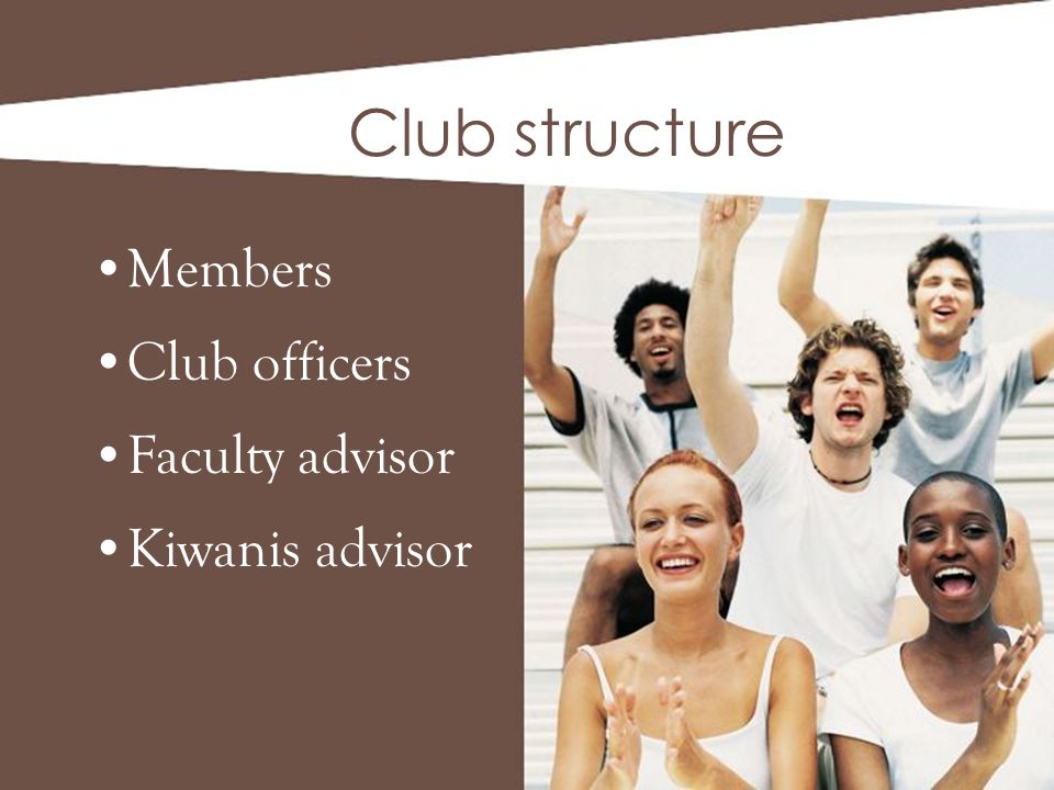 Members Club officers Faculty advisor Kiwanis advisor Club structure