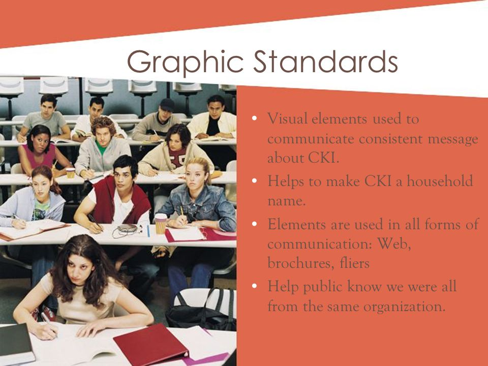 Visual elements used to communicate consistent message about CKI.