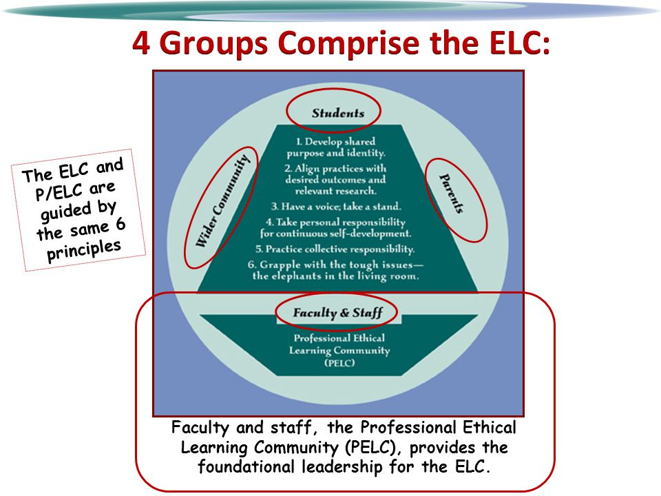 Faculty and staff, the Professional Ethical Learning Community (PELC), provides the foundational leadership for the ELC.