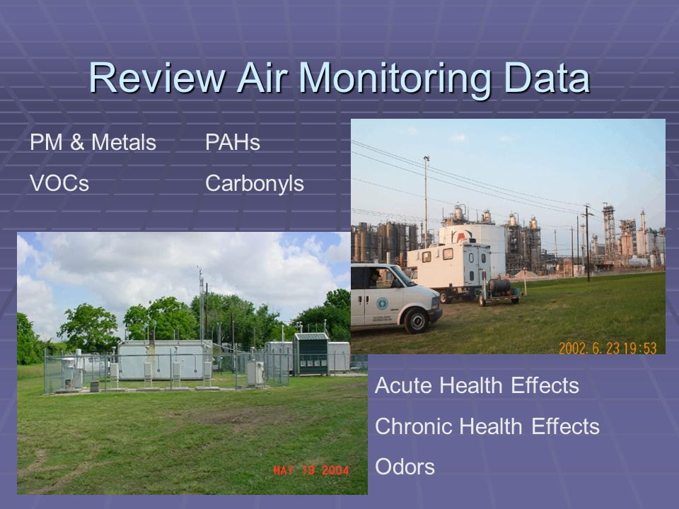 Review Air Monitoring Data PM & Metals VOCs PAHs Carbonyls Acute Health Effects Chronic Health Effects Odors