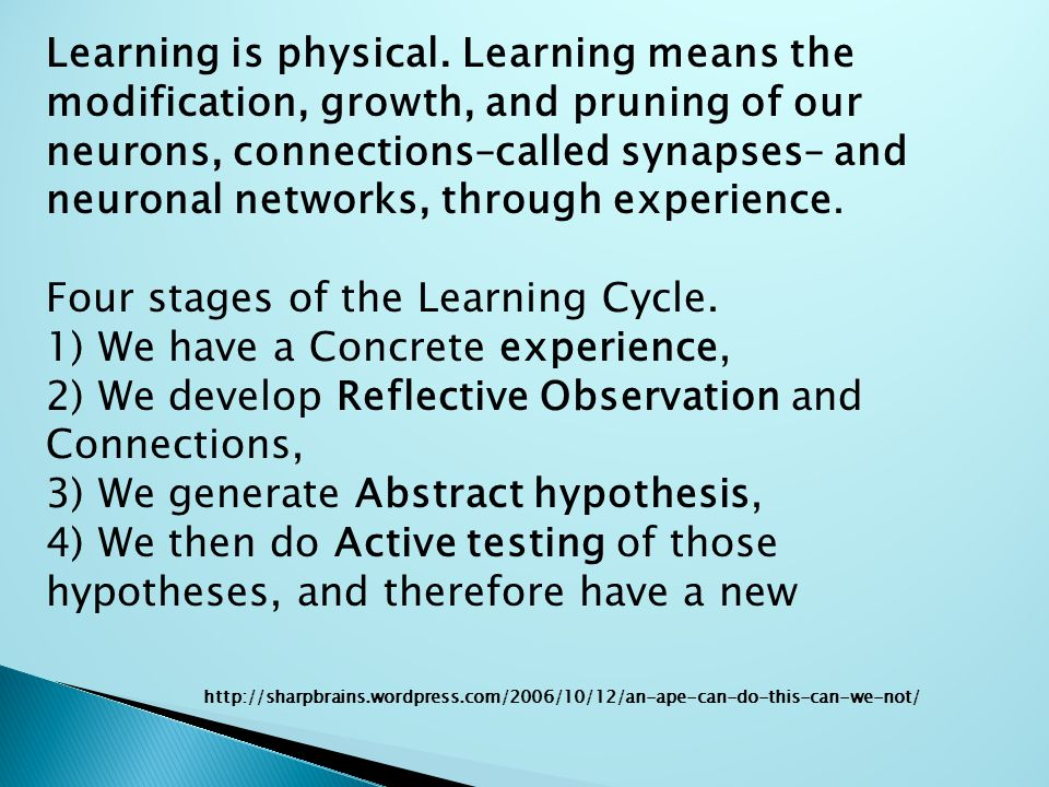 Learning is physical.