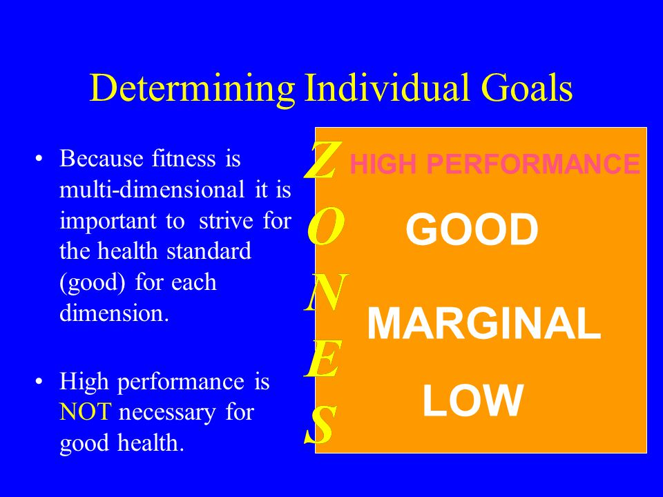 Z O N E S Z O N E S LOW MARGINAL GOOD HIGH PERFORMANCE Determining Individual Goals Because fitness is multi-dimensional it is important to strive for the health standard (good) for each dimension.