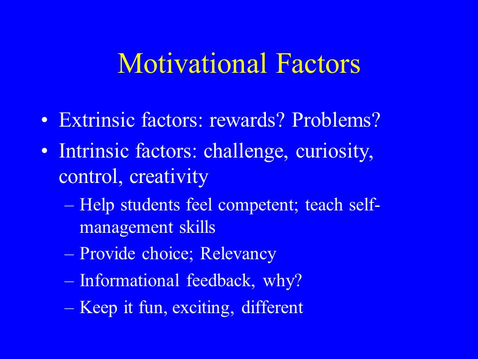 Motivational Factors Extrinsic factors: rewards. Problems.