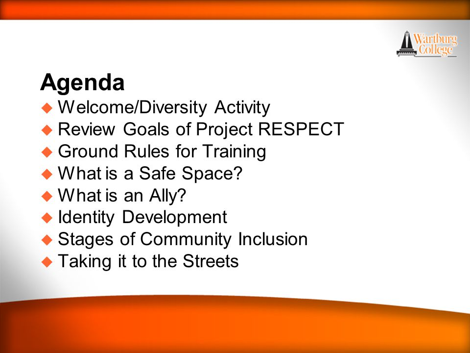 Agenda u Welcome/Diversity Activity u Review Goals of Project RESPECT u Ground Rules for Training u What is a Safe Space.