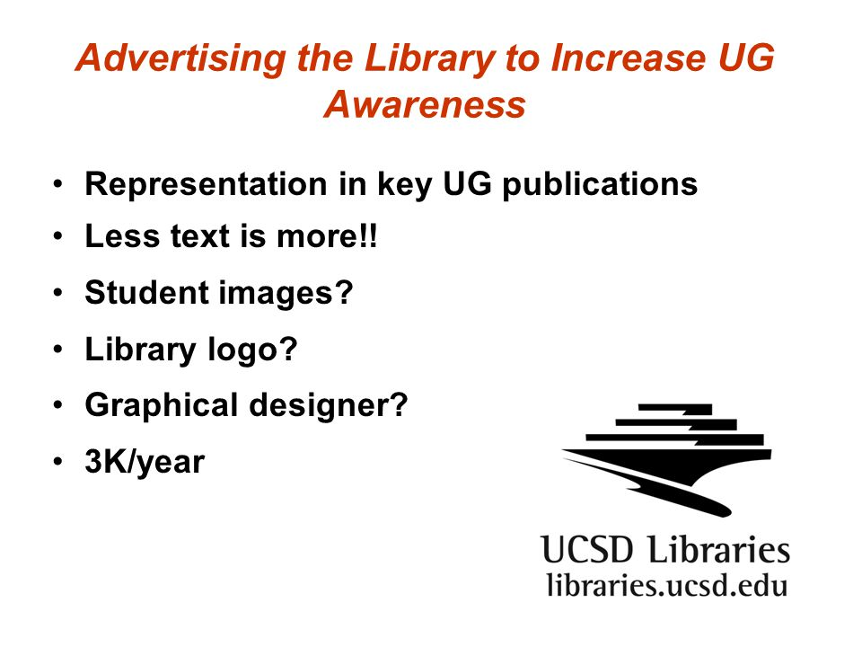 Advertising the Library to Increase UG Awareness Representation in key UG publications Less text is more!! Student images? Library logo? Graphical des
