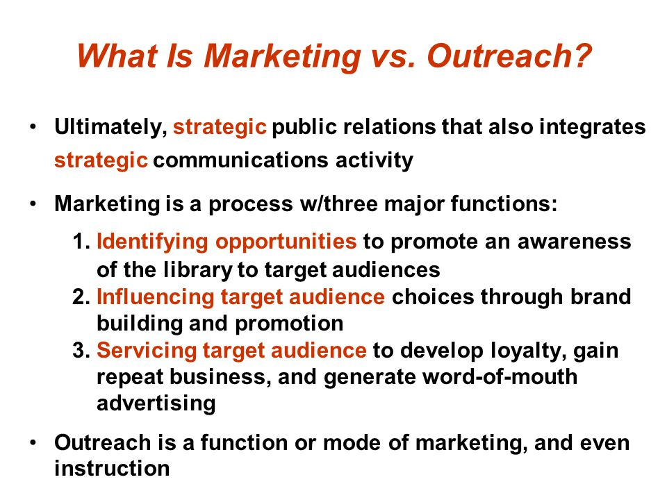 What Is Marketing vs. Outreach.