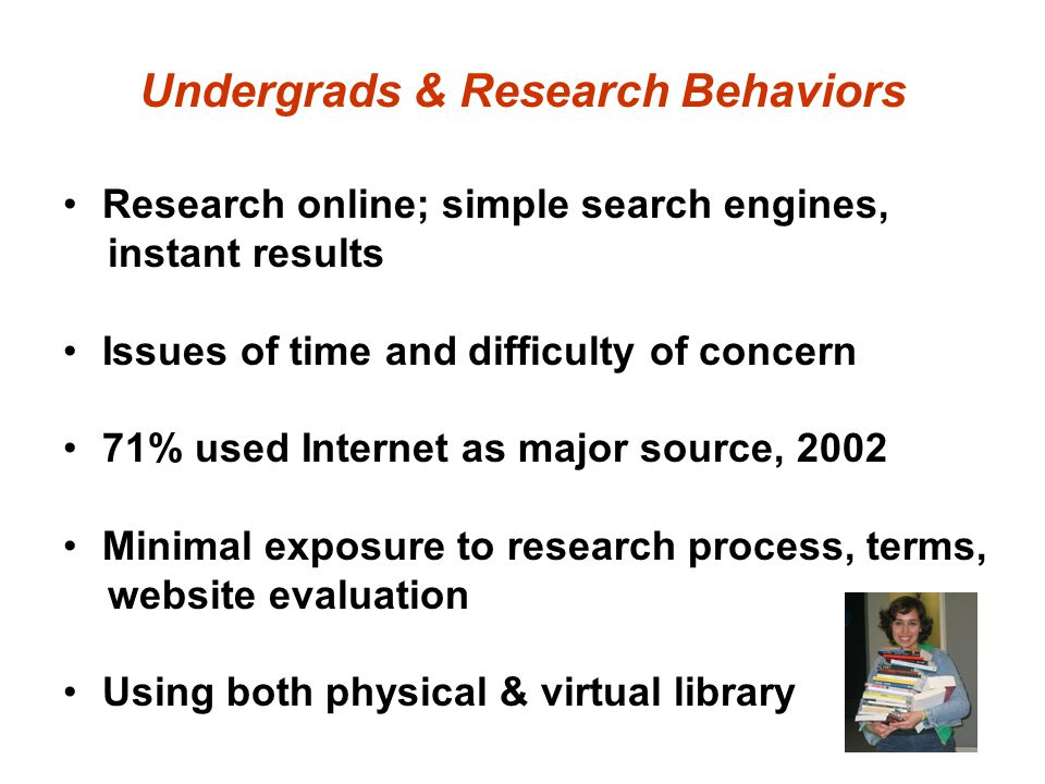 Undergrads & Research Behaviors Research online; simple search engines, instant results Issues of time and difficulty of concern 71% used Internet as