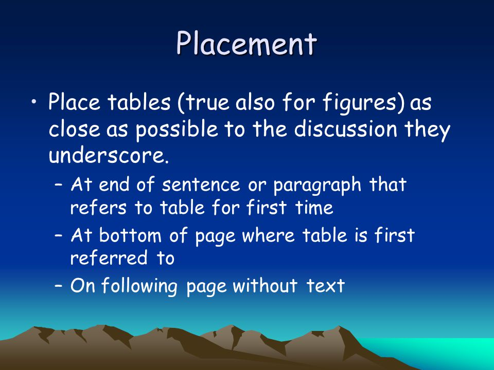 Placement Place tables (true also for figures) as close as possible to the discussion they underscore.