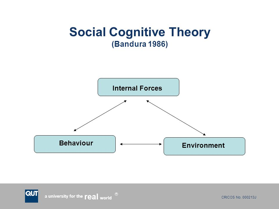 CRICOS No. 000213J a university for the world real R Social Cognitive Theory (Bandura 1986) Internal Forces Environment Behaviour