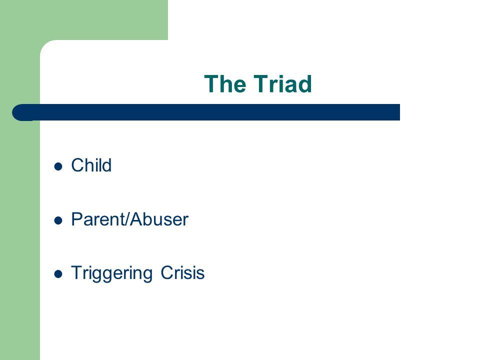 The Triad Child Parent/Abuser Triggering Crisis