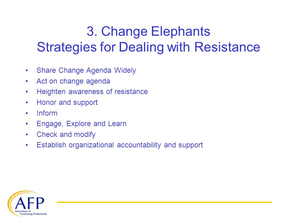 3. Change Elephants Strategies for Dealing with Resistance Share Change Agenda Widely Act on change agenda Heighten awareness of resistance Honor and