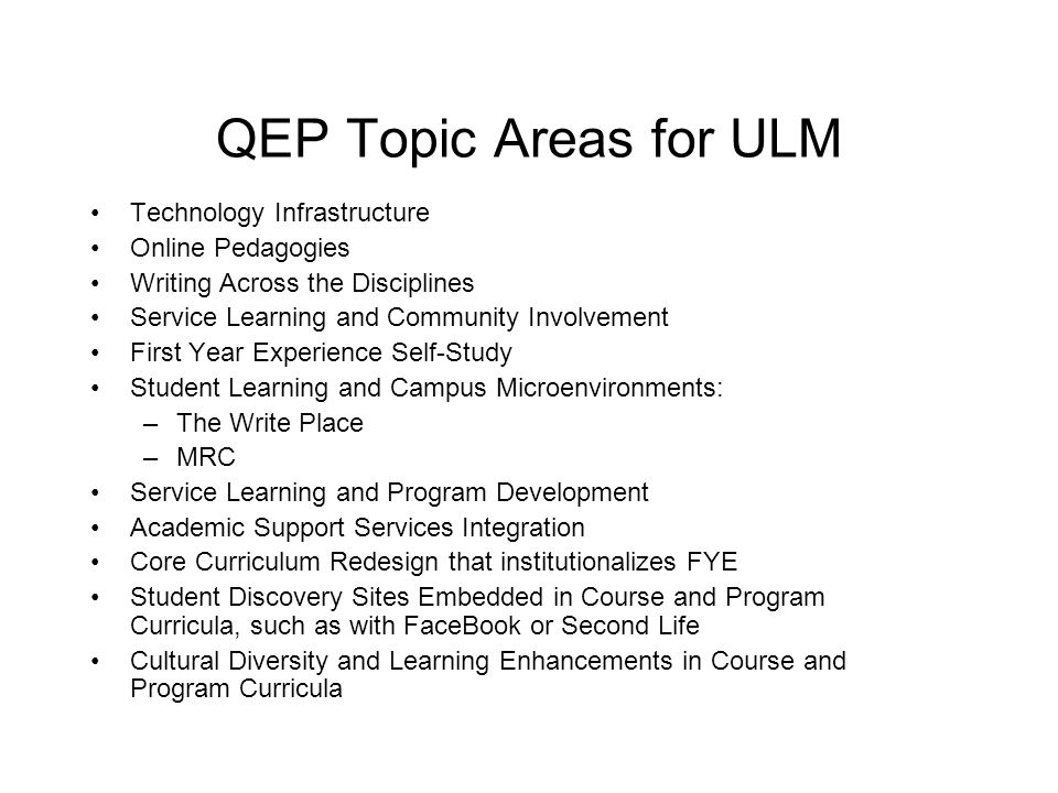 QEP Topics Lesson: If You Say It, Do It Texas A&M International University: The purpose of the Quality Enhancement Plan (QEP) at Texas A&M International University (TAMIU) is to improve the quality of undergraduate writing and to develop a campus culture that not only fosters writing as the logical product of coursework or program requirements, but regards writing as an important exploratory tool that students must embrace if they are to be successful professionals and lifelong learners.