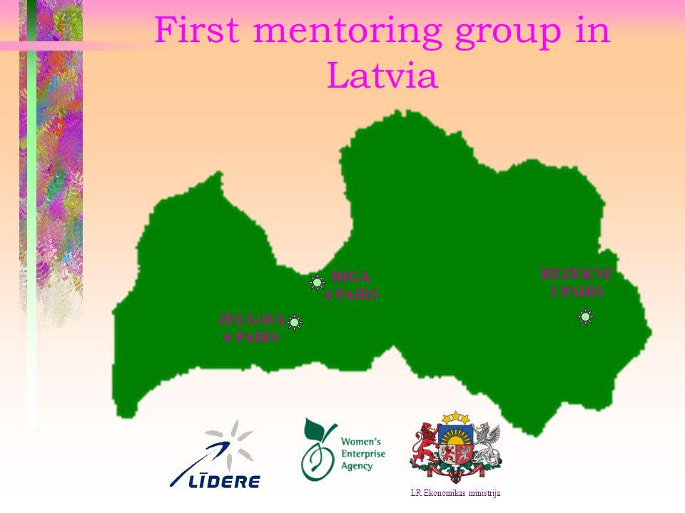 First mentoring group in Latvia RIGA 4 PAIRS REZEKNE 2 PAIRS JELGAVA 6 PAIRS LR Ekonomikas ministrija