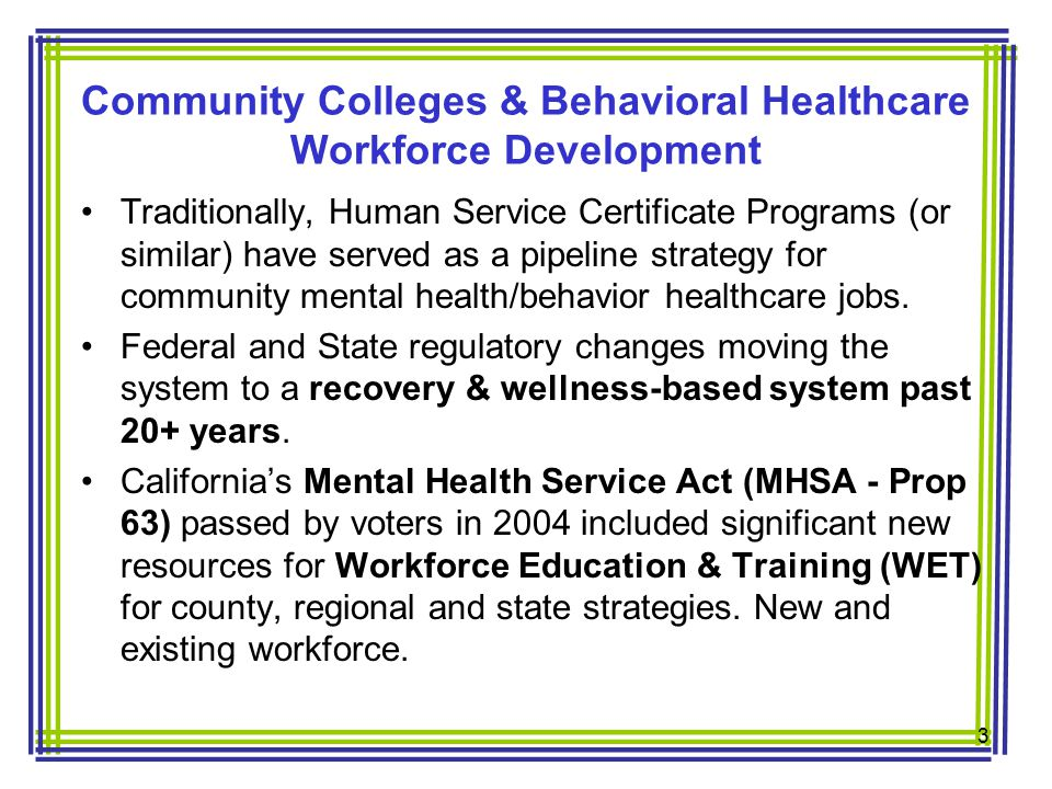 Traditionally, Human Service Certificate Programs (or similar) have served as a pipeline strategy for community mental health/behavior healthcare jobs.