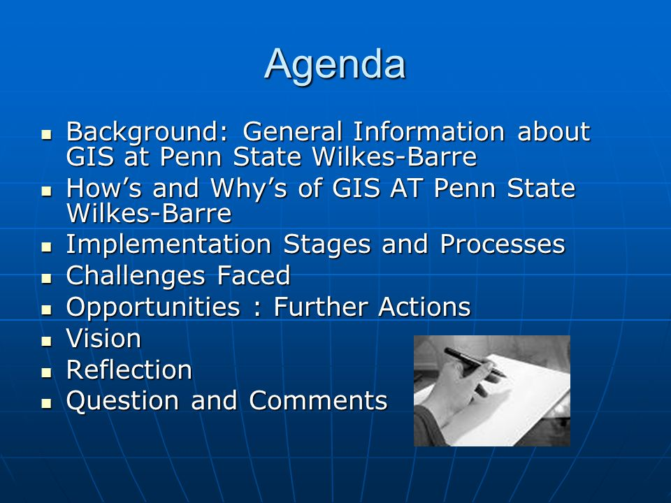 Spatial Data (GIS) Support For Multiple Disciplines With Land Surveying Engineering As The Lead Element: A Work In Progress At The Penn State Wilkes-B