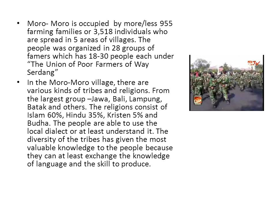 Moro- Moro is occupied by more/less 955 farming families or 3,518 individuals who are spread in 5 areas of villages.