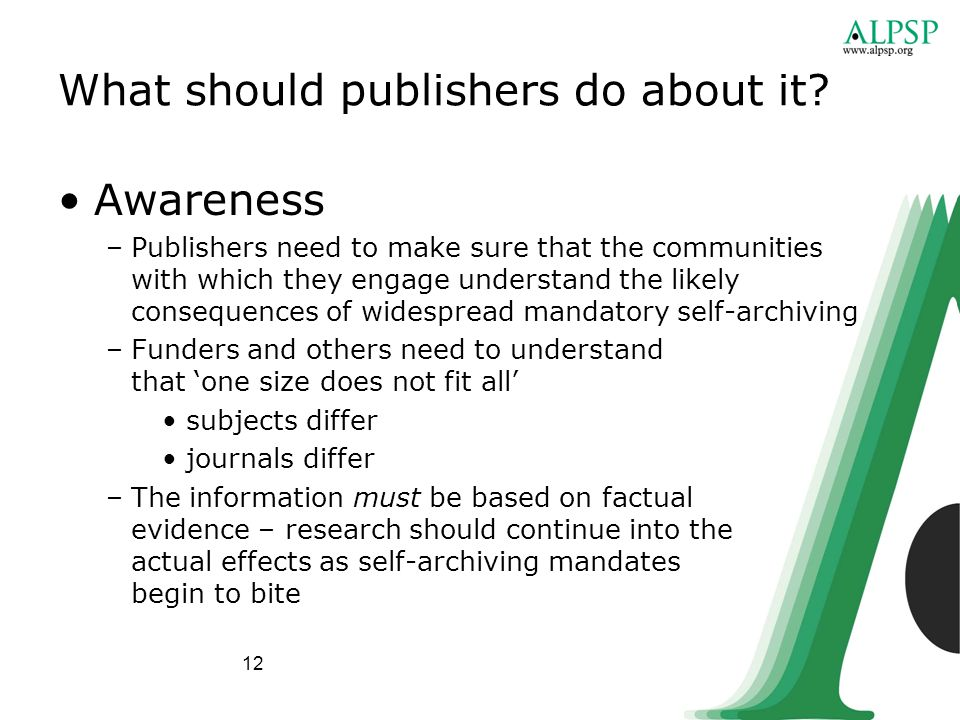 12 What should publishers do about it.