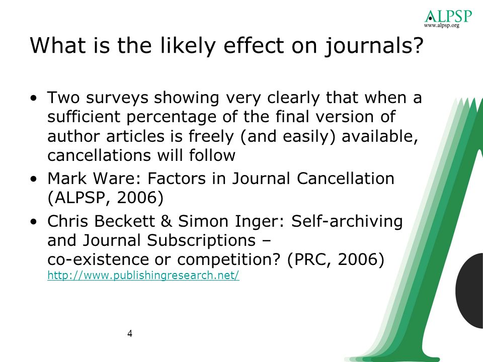 4 What is the likely effect on journals.