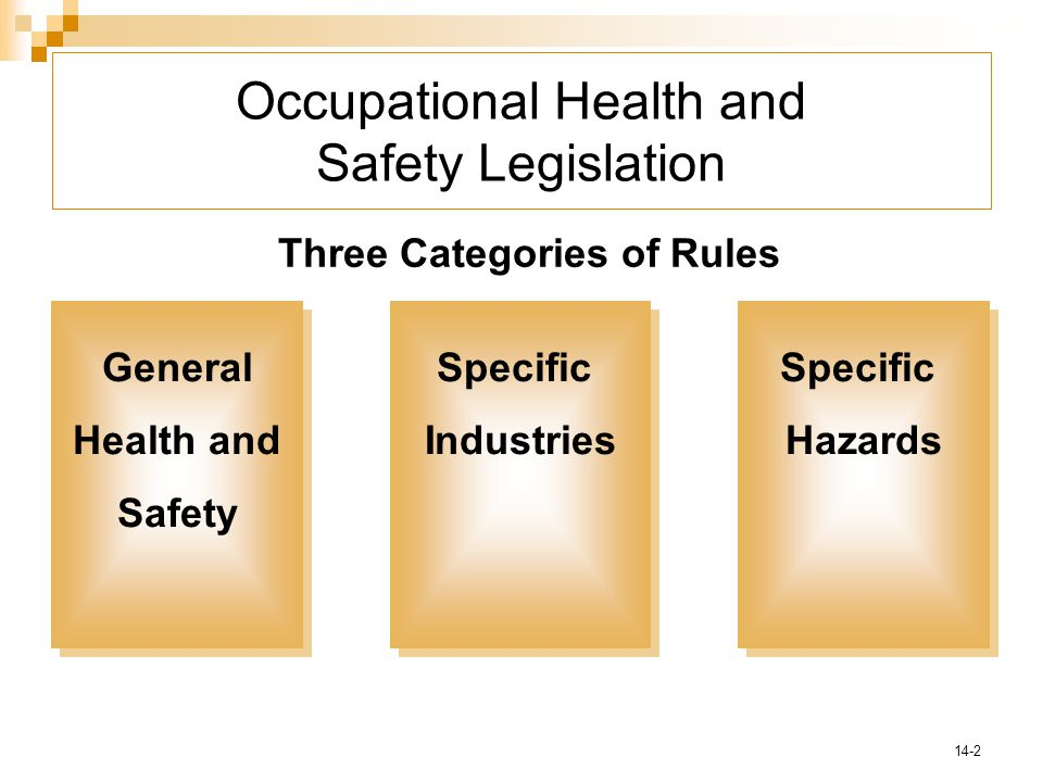 14-2 Occupational Health and Safety Legislation General Health and Safety General Health and Safety Three Categories of Rules Specific Industries Specific Industries Specific Hazards Specific Hazards