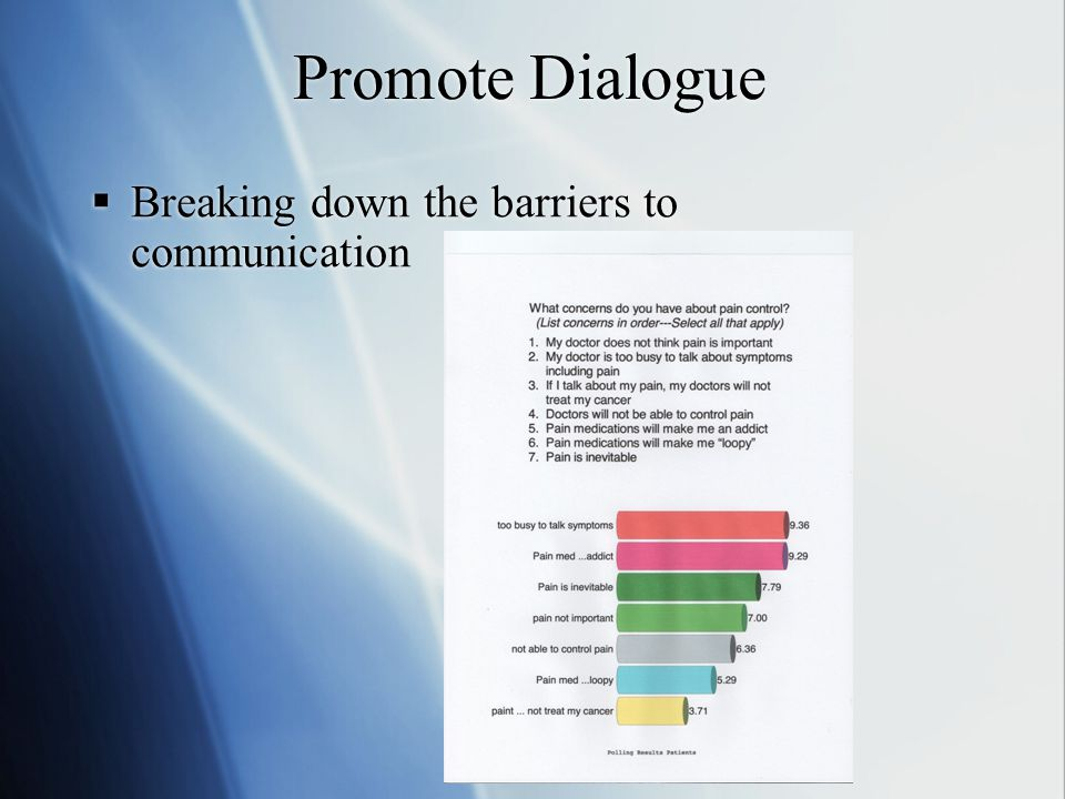 Promote Dialogue  Breaking down the barriers to communication