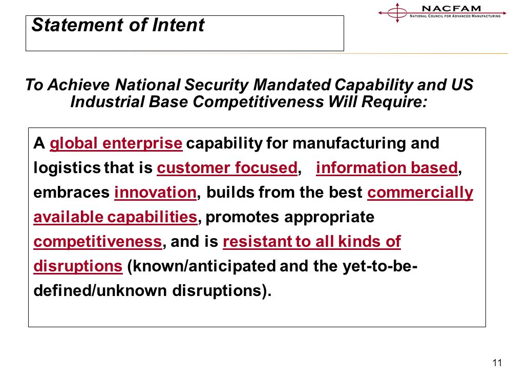 11 Statement of Intent A global enterprise capability for manufacturing and logistics that is customer focused,, information based, embraces innovatio