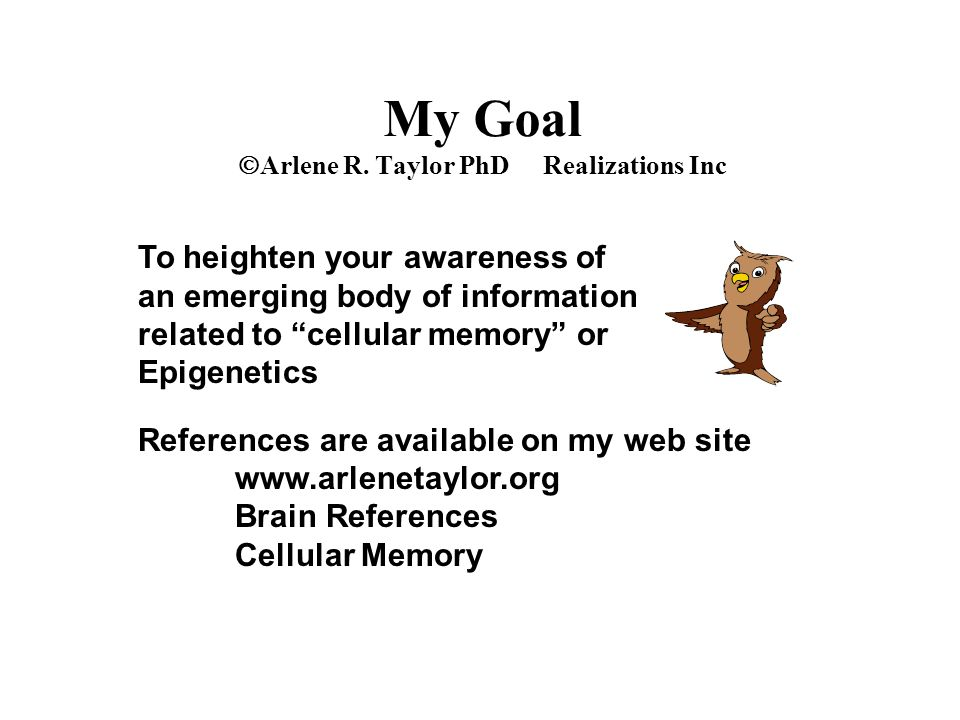 """My Goal  Arlene R. Taylor PhD Realizations Inc To heighten your awareness of an emerging body of information related to """"cellular memory"""" or Epigenet"""