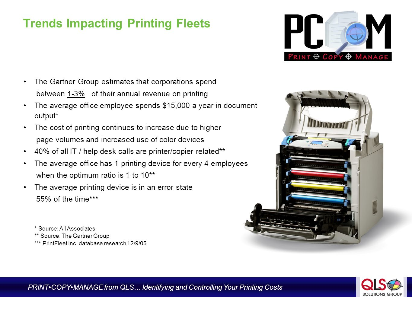 Financial Impacts of Printing Devices In Organizations Increased page volumes = increased imaging costs Capital budgets are being stretched with the erratic purchase of output technology, reactive supplies ordering and emergency servicing The related costs of administration, management and supply inventory continue to rise High cost of IT time is spent dealing with printing device maintenance issues and detracts from the departments core initiatives Little or no device placement management results in high-cost devices receiving the volume of pages * Source: DocuAudit International PRINTCOPYMANAGE from QLS… Identifying and Controlling Your Printing Costs