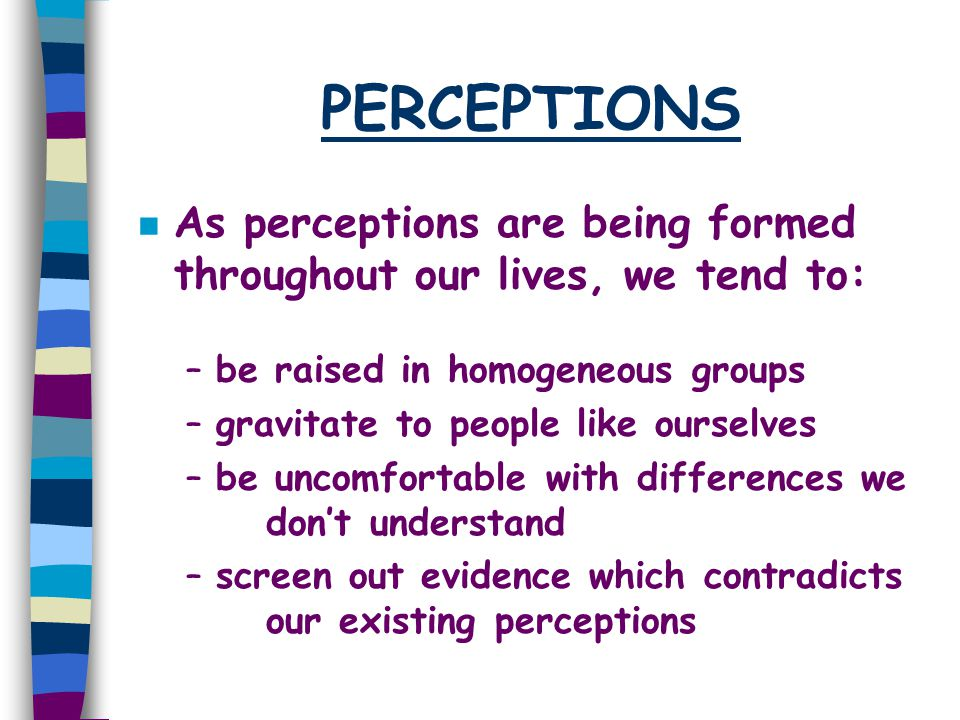 PERCEPTIONS n As perceptions are being formed throughout our lives, we tend to: –be raised in homogeneous groups –gravitate to people like ourselves –