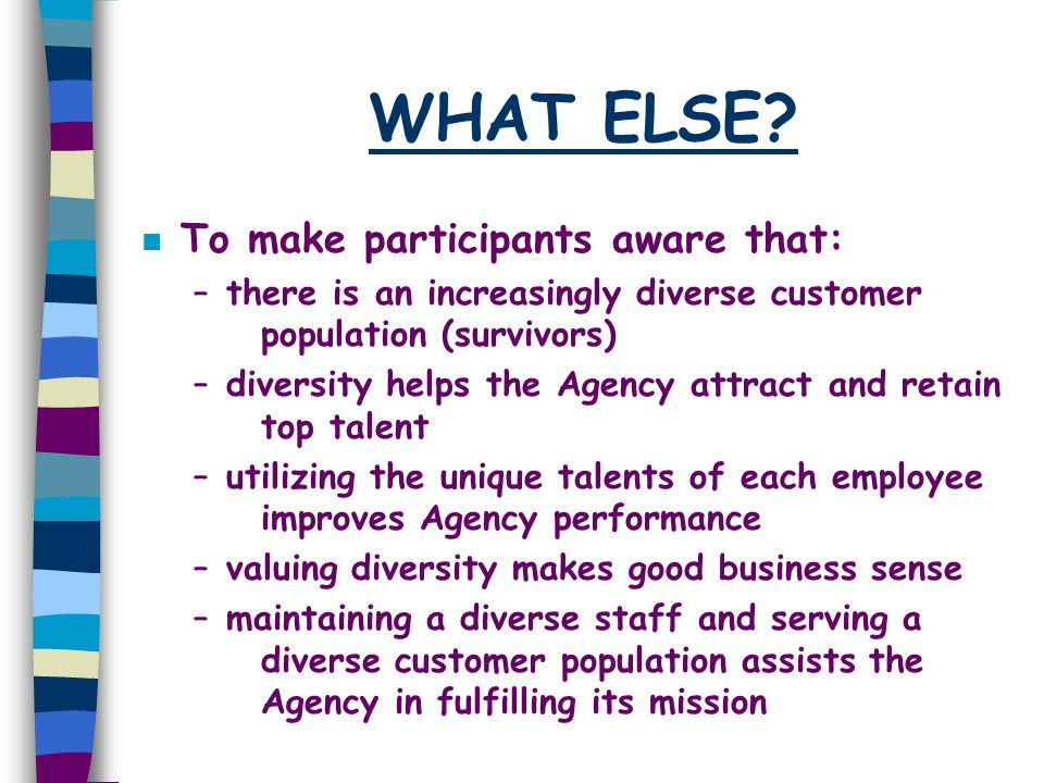 WHAT ELSE? n To make participants aware that: –there is an increasingly diverse customer population (survivors) –diversity helps the Agency attract an