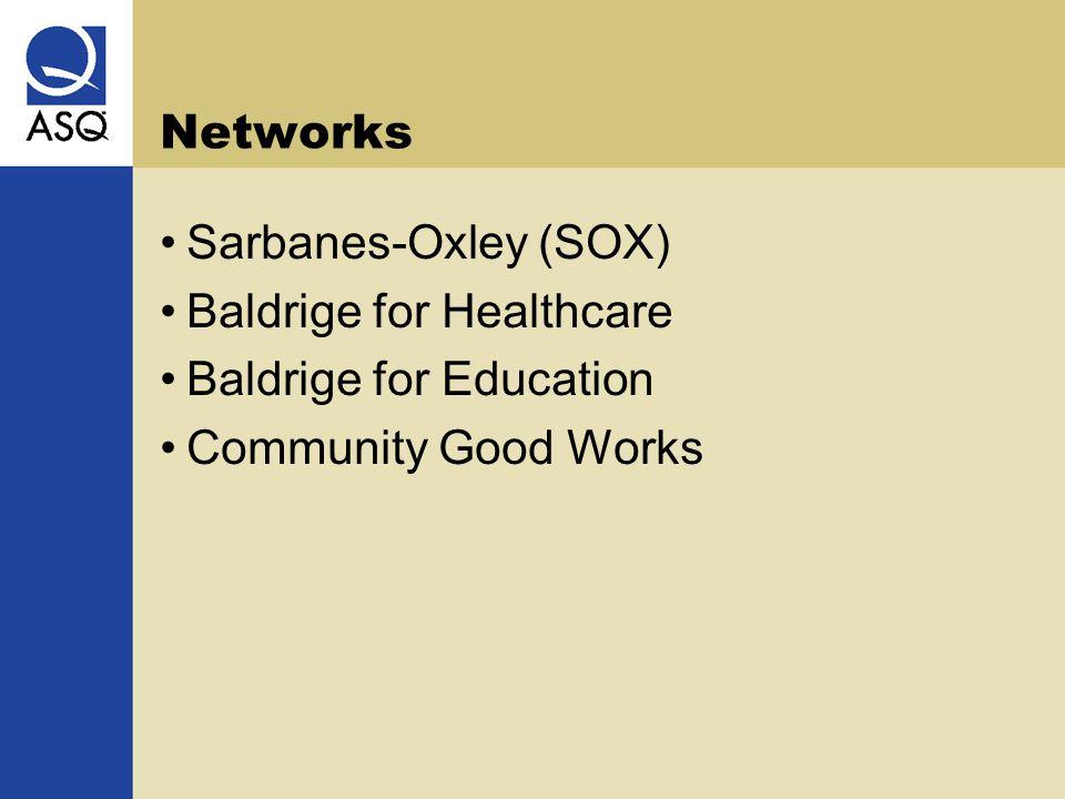 Networks Sarbanes-Oxley (SOX) Baldrige for Healthcare Baldrige for Education Community Good Works
