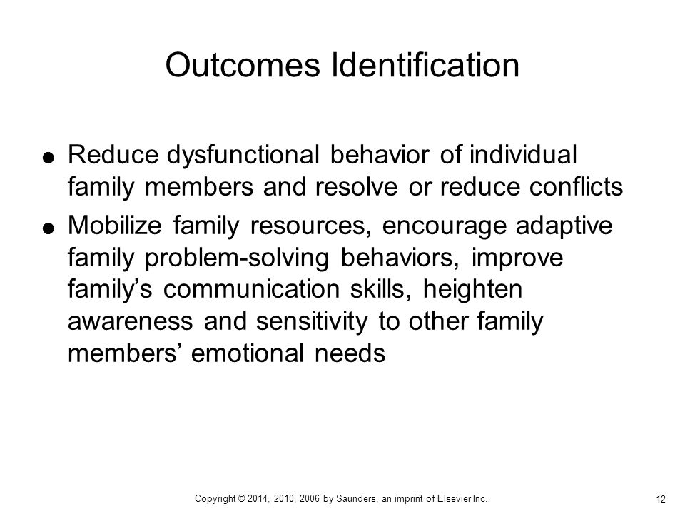  Reduce dysfunctional behavior of individual family members and resolve or reduce conflicts  Mobilize family resources, encourage adaptive family pr