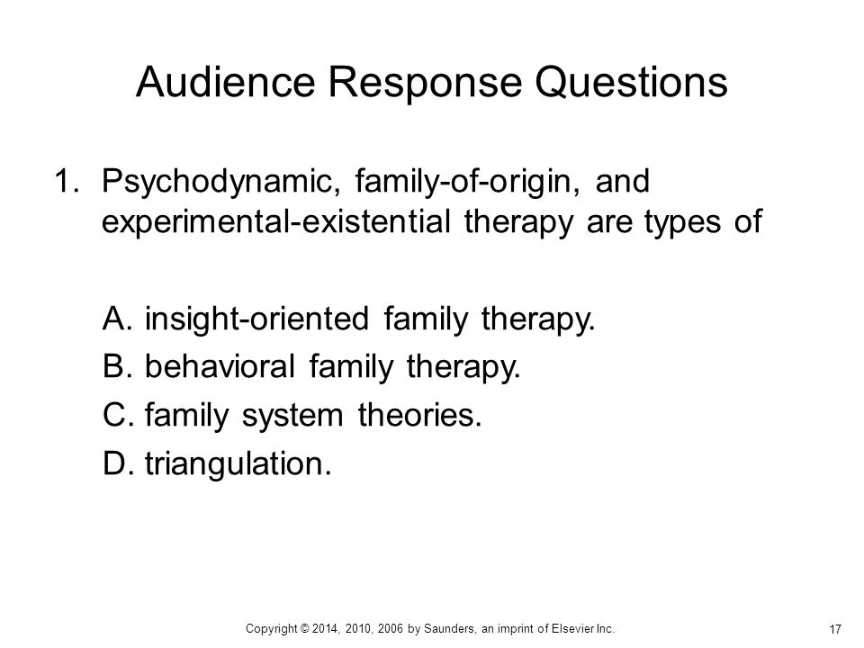 1.Psychodynamic, family-of-origin, and experimental-existential therapy are types of A.insight-oriented family therapy. B.behavioral family therapy. C