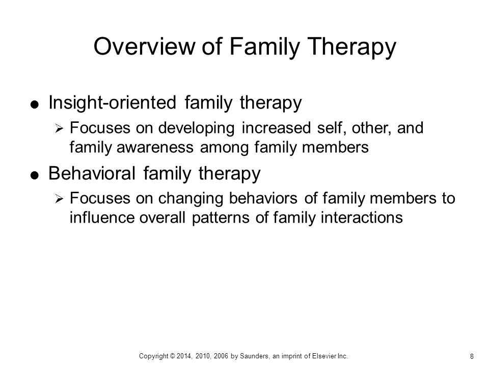  Identified patient  Family triangles Concepts Central to Family Therapy 9 Copyright © 2014, 2010, 2006 by Saunders, an imprint of Elsevier Inc.