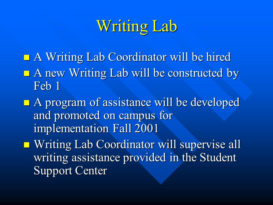 Writing Lab A Writing Lab Coordinator will be hired A Writing Lab Coordinator will be hired A new Writing Lab will be constructed by Feb 1 A new Writing Lab will be constructed by Feb 1 A program of assistance will be developed and promoted on campus for implementation Fall 2001 A program of assistance will be developed and promoted on campus for implementation Fall 2001 Writing Lab Coordinator will supervise all writing assistance provided in the Student Support Center Writing Lab Coordinator will supervise all writing assistance provided in the Student Support Center