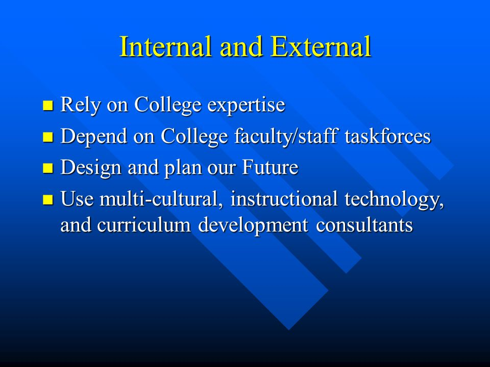 Internal and External Rely on College expertise Rely on College expertise Depend on College faculty/staff taskforces Depend on College faculty/staff taskforces Design and plan our Future Design and plan our Future Use multi-cultural, instructional technology, and curriculum development consultants Use multi-cultural, instructional technology, and curriculum development consultants