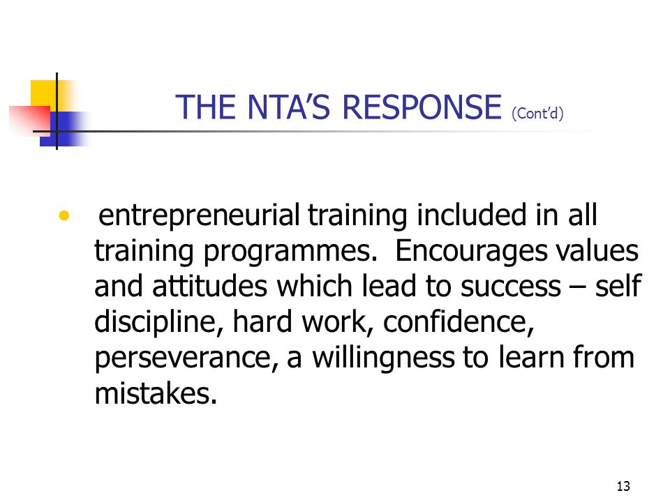 13 entrepreneurial training included in all training programmes.