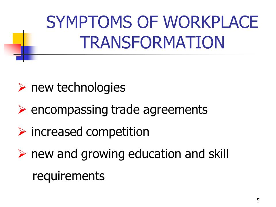 5 SYMPTOMS OF WORKPLACE TRANSFORMATION  new technologies  encompassing trade agreements  increased competition  new and growing education and skill requirements