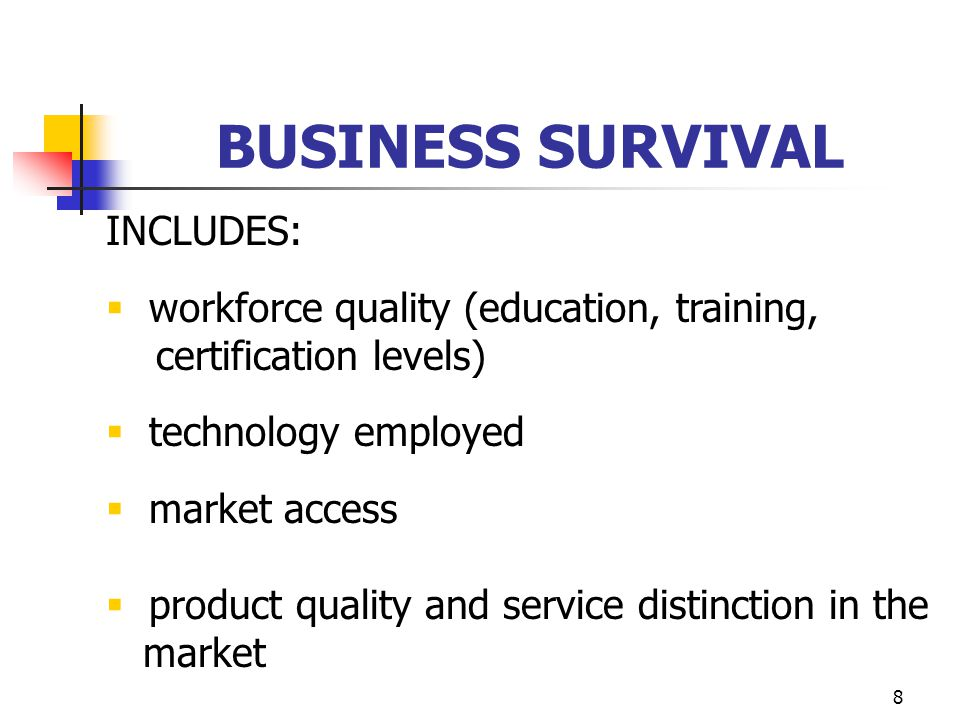 8 BUSINESS SURVIVAL INCLUDES:  workforce quality (education, training, certification levels)  technology employed  market access  product quality and service distinction in the market