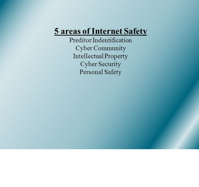 5 areas of Internet Safety Preditor Indentification Cyber Community Intellectual Property Cyber Security Personal Safety