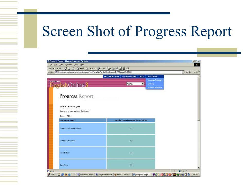 Screen Shot of Progress Report