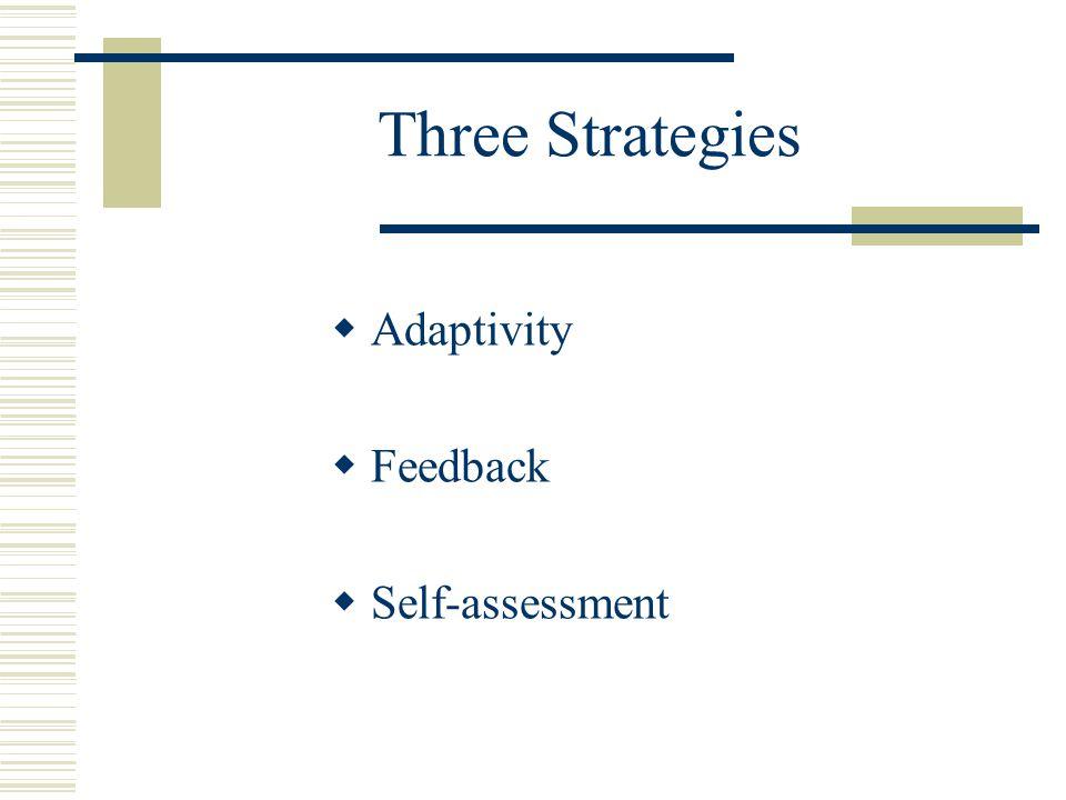 Three Strategies  Adaptivity  Feedback  Self-assessment