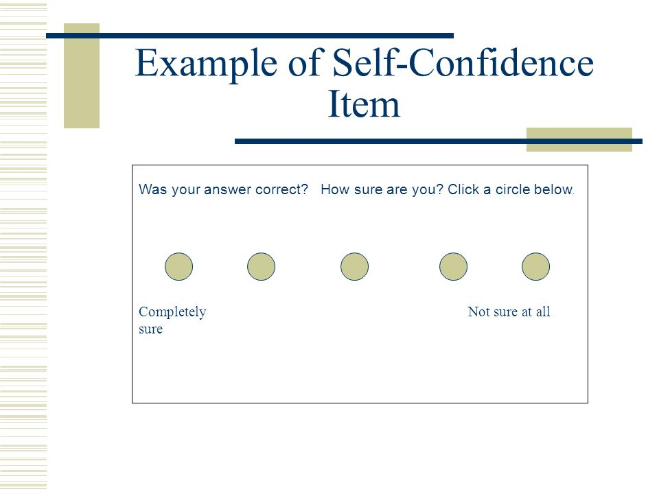 Example of Self-Confidence Item Was your answer correct.